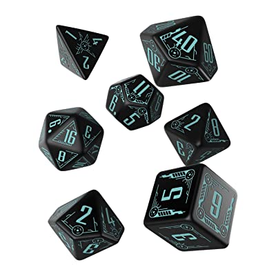 Q-Workshop Galactic Black & Blue RPG Ornamented Dice Set 7 Polyhedral Pieces: Toys & Games