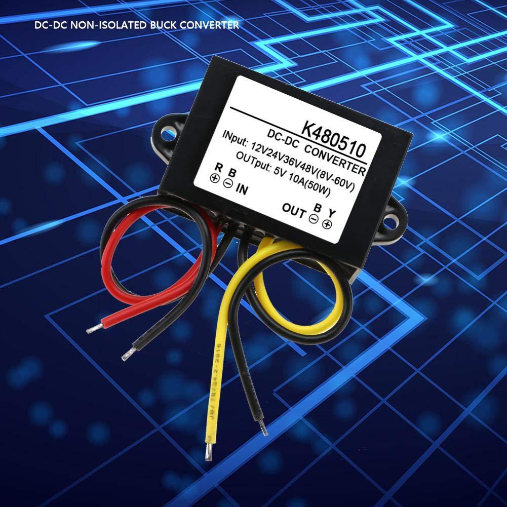 Akozon Convertidor de CC 12V 48V a 5V 10A Buck Converter M/ódulo de Fuente de Alimentaci/ón 24V 36V