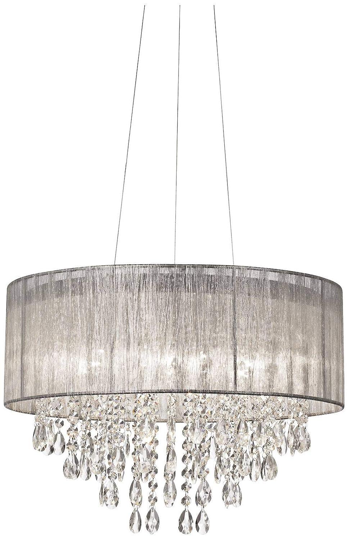 Possini euro jolie 20w silver fabric crystal chandelier possini euro design amazon com