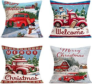Hopyeer Christmas Decorations Pillow Covers Red Truck Car with Christmas Tree Snowflake Snowman Vintage Rustic Farmhouse Decor Cotton Linen Throw Pillow Case Cushion Cover 18