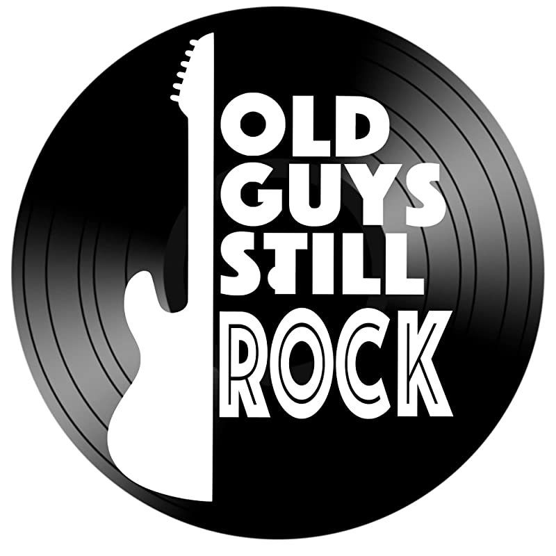 Gift for Dad Old Guys Still Rock Quote on a Repurposed Vinyl Record Album Guitarist Gift LP Wall Art