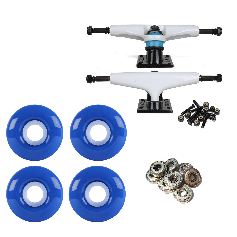 litezpeed Skateboard Trucksホワイト/ブラック52 mmブルーABEC 9 BEARINGSコンボ   B07BX1M4L2