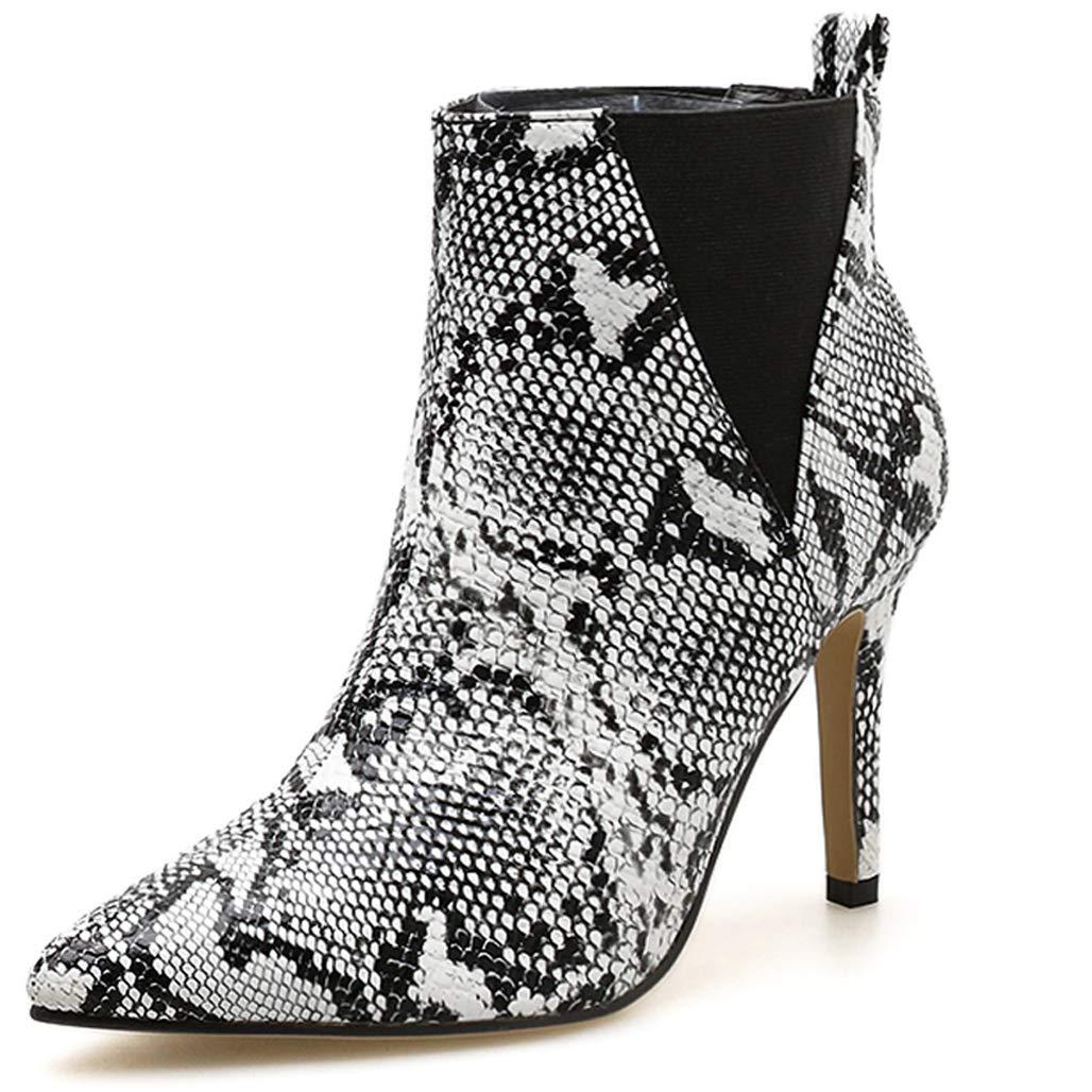 GoldGOD Frauen High Stiefelies,Weiß,36 Heel Muster Wies Mode Stiefelies,Weiß,36 High 2b0946
