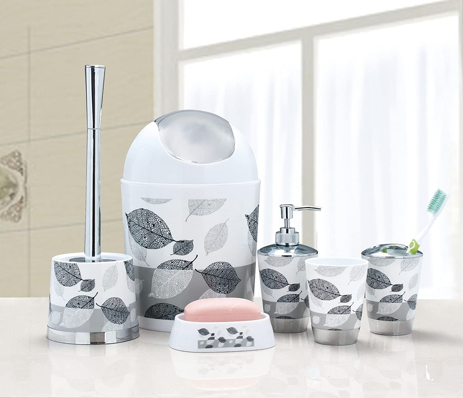 6pcs//Set Bathroom Accessory Bin Soap Dish Dispenser Tumbler Toothbrush Holder