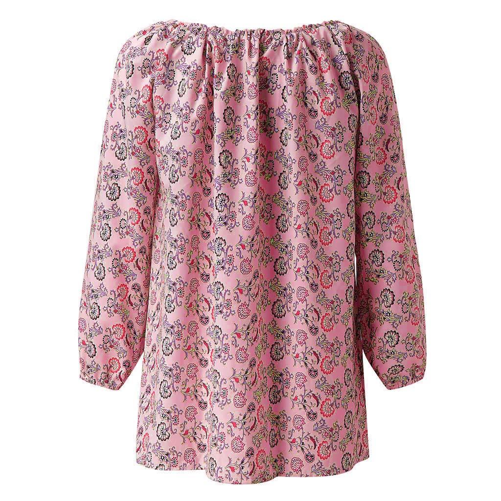 Damen Langarm Oberteile Freizeit Pulli V-Ausschnitt Bluse Blumendruck Hemdbluse Lose Tunika Atmungsaktiv Tops D/ünne Outwear Herbst-Shirt mit Kordelzug