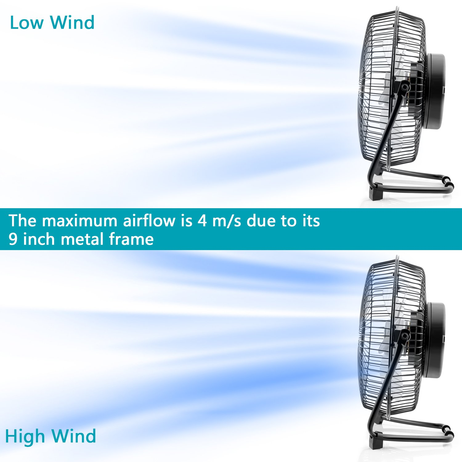 OPOLAR 9 inch USB Rechargeable Desk Fan with 6700mAh Capacity, Long Working Time, Good Airflow,Whisper Quiet, Two Settings, Personal Cooling Fan for Home & Office & Hurricane & Camping by OPOLAR (Image #5)