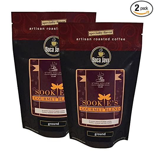 Gilmore Girls Coffee, Sookie's Gourmet Blend, Stars Hollow Coffee Collection, Kahlua and Caramel Flavored Coffee, Ground, 8oz (2 Pack)