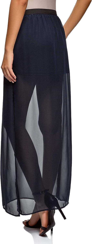 oodji Ultra Mujer Falda Larga de Tejido Fluido