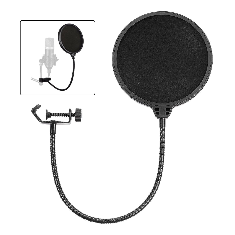 Followsun rond Micro Pop filtre Masque Shield, deux visages de vent Pop écran avec col de cygne flexible à 360° Bras de stabilisation et support clip pour Premium enregistrements de voix, la radiodiffusion,, chantant, 15,2cm/15cm (Noir)