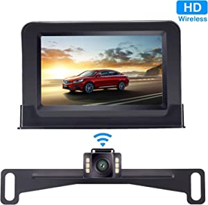 Yakry Backup Camera Wireless 4.3'' Monitor Kit for Car/SUV/Minivan/Pickup Waterproof License Plate Rear View /Front View Camera 6 White Light LED Night Vision Guide Lines ON/OFF