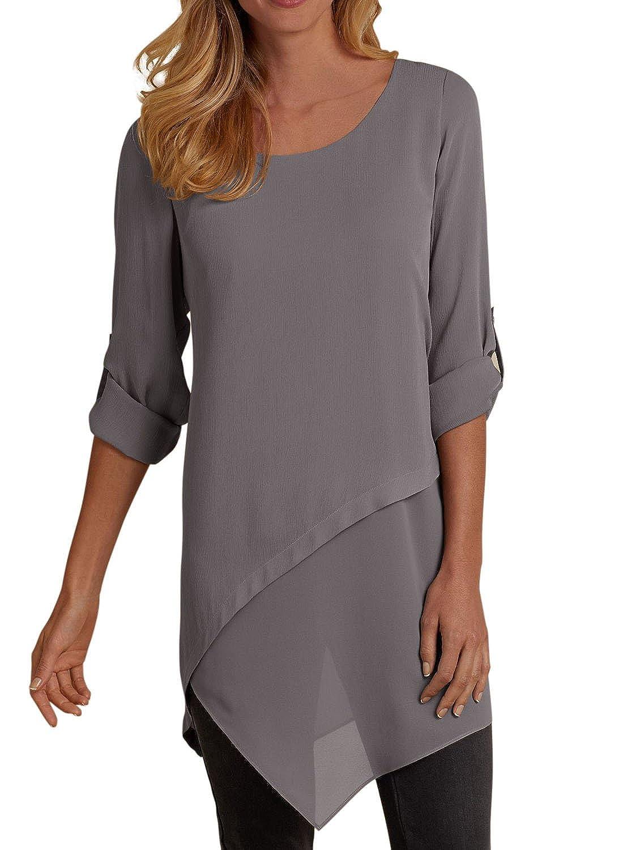 2997f2d1457 ROSKIKI Women's Roll Tab Long Sleeve Chiffon Tunic Tops Asymmetrical Hem  Blouses at Amazon Women's Clothing store: