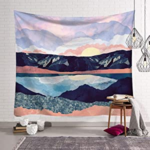 Mountain Lake Tapestry 30x40 inch Color Mountain Tapestry Wall Hangings Sunset Nature Art Landscape Bohemian Tapestry Mural for Bedroom Living Room Wall Decor Tablecloth Beach Throw