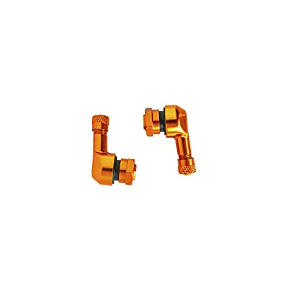 NEX Performance Forged Alloy Angled Valve Stem with Pre-Applied Threadlocker Nut, 0.357in (8.3mm) Size, Orange: Automotive