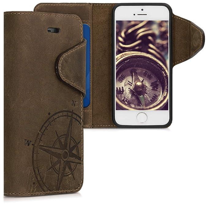 kalibri Apple iPhone SE / 5 / 5S Hülle - Leder Handyhülle für Apple iPhone SE / 5 / 5S - Handy Wallet Case Cover