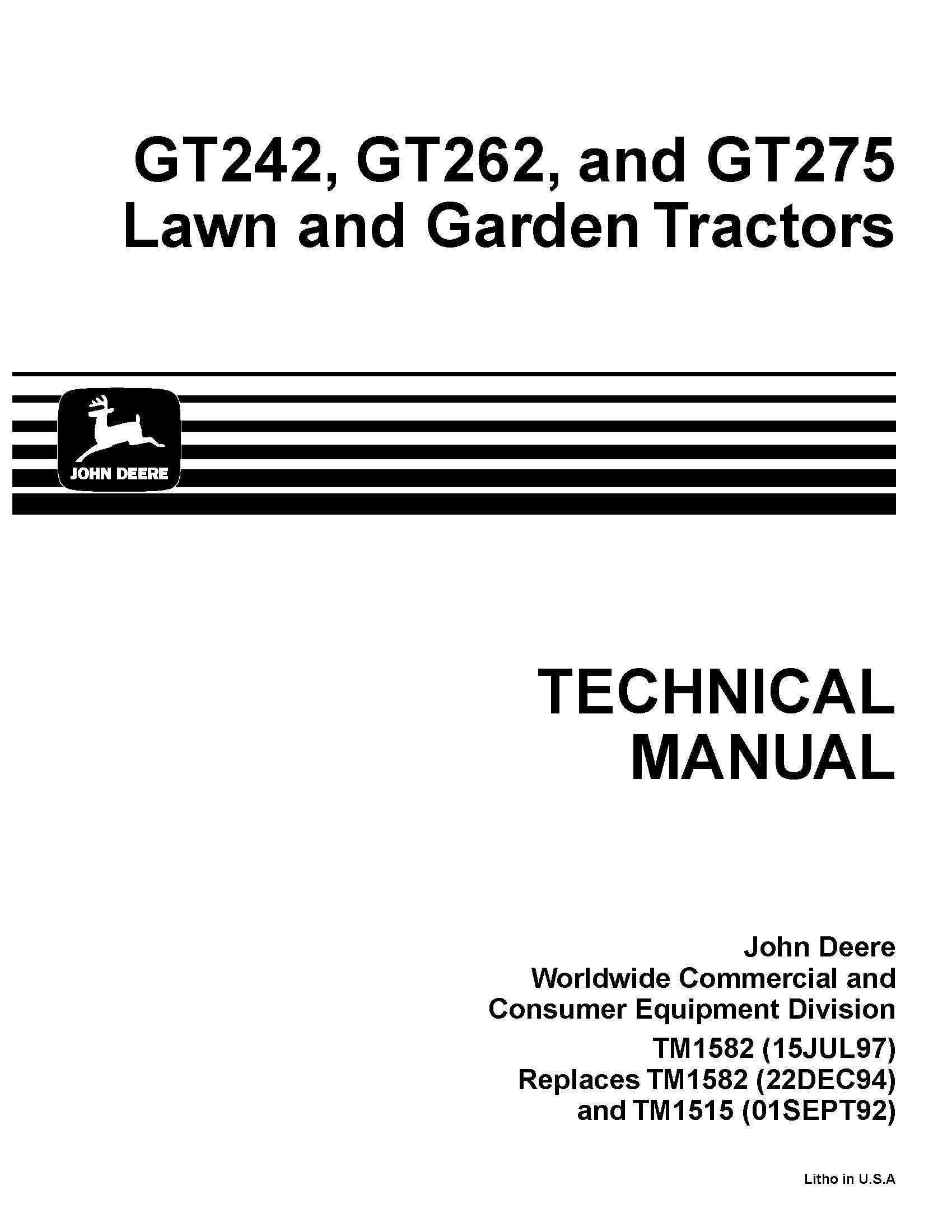 john deere gt242 gt262 gt275 lawn garden tractor technical service manual: john  deere: amazon.com: books  amazon.com
