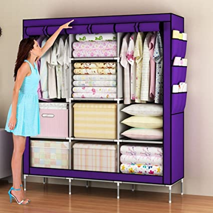 Charmant Amanda Home Portable Clothes Closet Non Woven Fabric Wardrobe Storage  Organizer (Color Purple