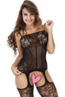 ZIUMUDY Women's Sexy Fishnet Crotchless Strap Floral Bodystocking Stretch Tights