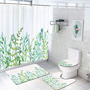 Alishomtll 4 Pcs Plant Shower Curtain Set with Non-Slip Rug, Toilet Lid Cover, Bath Mat and 12 Hooks, Leaf Waterproof Shower Curtain Sets for Bathroom