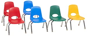 "FDP 10"" School Stack Chair, Stacking Student Seat with Chromed Steel Legs and Nylon Swivel Glides; for in-Home Learning or Classroom - Assorted Colors (6-Pack)"