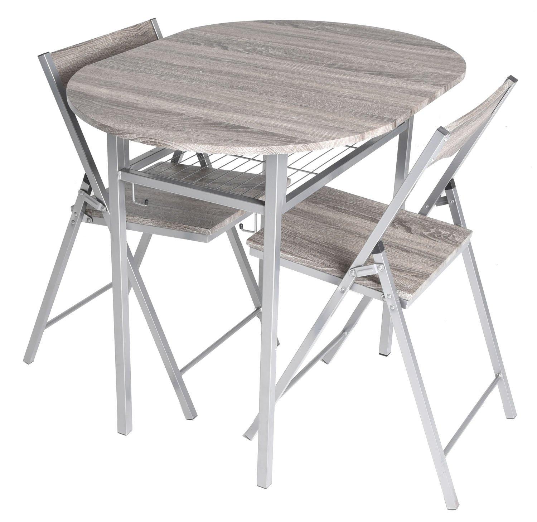 Amazon Zenvida 3 Piece Wood Drop Leaf Breakfast Table and 2