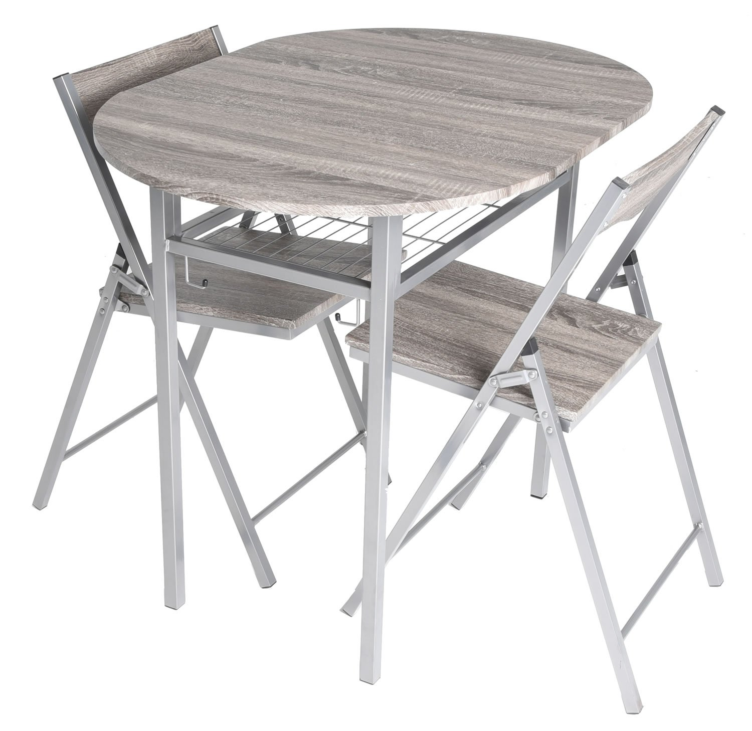 Zenvida 3 Piece Wood Drop Leaf Breakfast Table and 2 Folding Chairs Rustic Grey