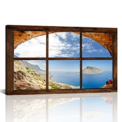 Klvos Fake Window Frame Canvas Art Wall Painting Blue Ocean And Island In The Sunshine Day Travel Picture Landscape Wall Decor Framed For Living