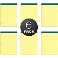 TOPS Double Docket Writing Tablet, 8-1/2 x 11-3/4 Inches, Perforated, 3-Hole Punched, Canary, Legal/Wide Rule, 100 Sheets per Pad, 6 Pads per Pack (63387)