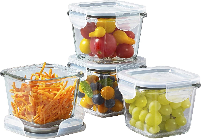 Mason Craft & More V1534 Food Storage container, 8PC SQ MINI, Clear