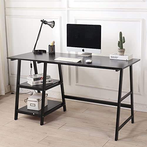 SogesPower Writing Computer Desk Trestle Desk Laptop PC Desk, Morden Vintage Home Office Sturdy Table, 55 inches Black