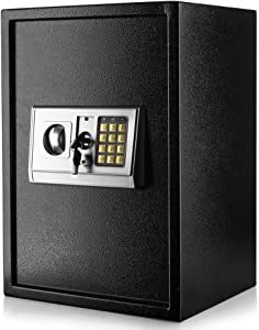 Flexzion Digital Electronic Safe Box Keypad Lock Security Cabinet with Hidden Wall Mount Anchoring 2 Keys for Gun Money Cash Deposit Jewelry Passport Valuable Home Office Hotel (14