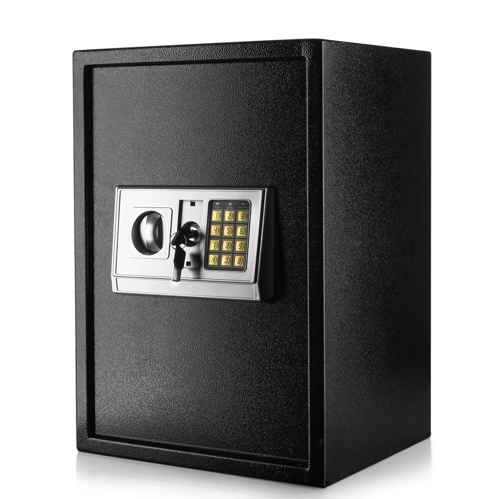 Flexzion Digital Electronic Safe Box Keypad Lock Security Cabinet with Hidden Wall Mount Anchoring 2 Keys For Gun Money Cash Deposit Jewelry Passport Valuable Home Office Hotel (14''x12''x20'')