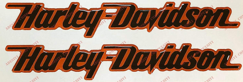 Dezal Harley Davidson Logosticker Paare Harz Schwarz Orange 3d Effekt Für Tank Oder Casco
