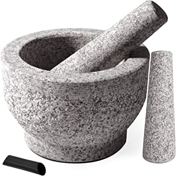 Tera Unpolished Granite Mortar and Pestle Set with 2 Pestles