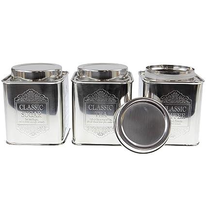 Set Of 3 Copper Silver Tea Sugar Coffee Storage Jar Kitchen Canister Tins Box Boxes Tin Pot Pots Small Silver