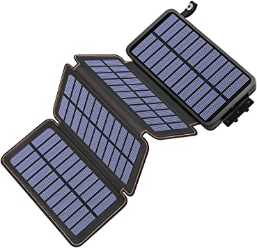 Hiluckey Cargador Solar 25000mAh, Portátil Power Bank con 4 Paneles Solar 2 USB 2.1A Output Impermeabl Batería Externa para iPhone, iPad, Samsung, Smartphone: Amazon.es: Electrónica