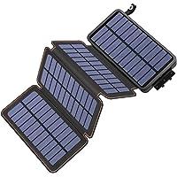 Hiluckey Cargador Solar 25000mAh, Portátil Power Bank con 4 Paneles Solar 2 USB 2.1A Output Impermeabl Batería Externa…