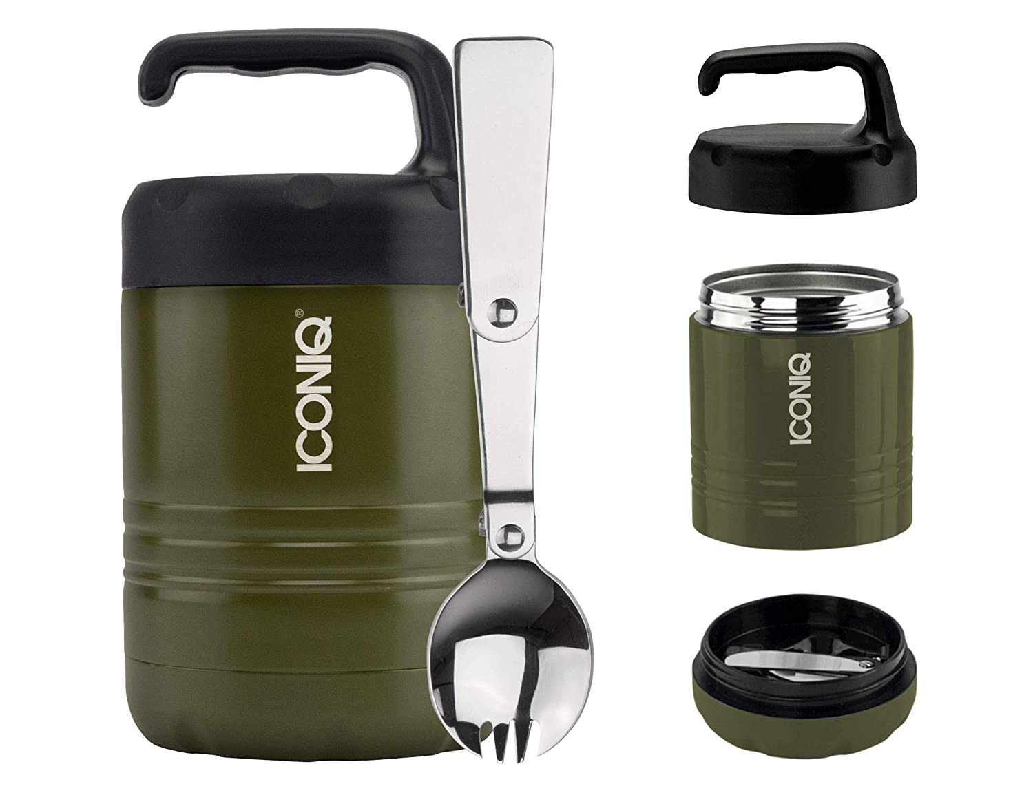 ICONIQ Qore Stackable Stainless Steel Insulated Food Jar with Fold-Out Spoon 10 Ounce | Foliage Green
