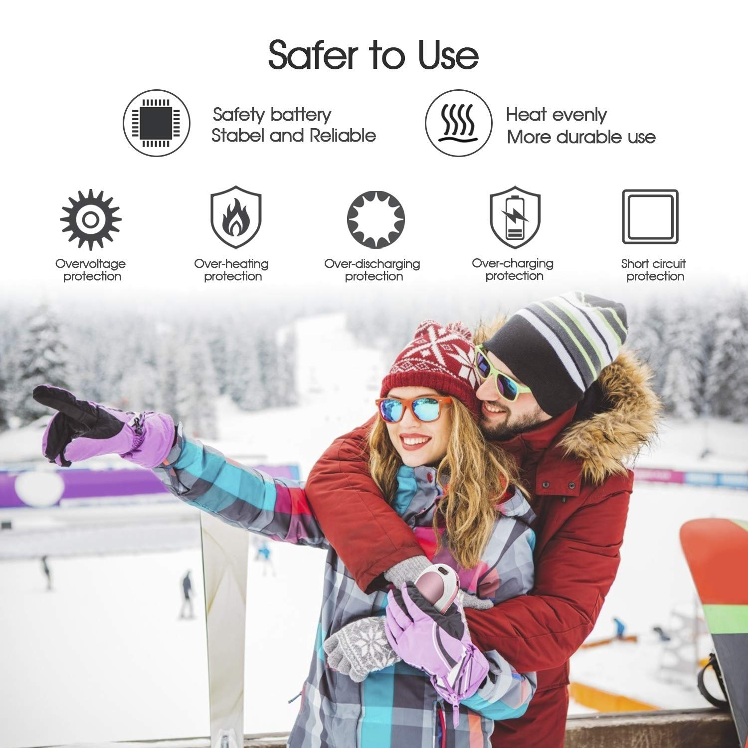 Electric Hand Warmer, 3 IN 1 USB Rechargeable Hand Warmer 6000mAh Power Bank Hand Warmer with Vibration Massage, LED Flashlight and Visible LCD Play, Great for Outdoor Sport, Winter Gifts- Rose Gold