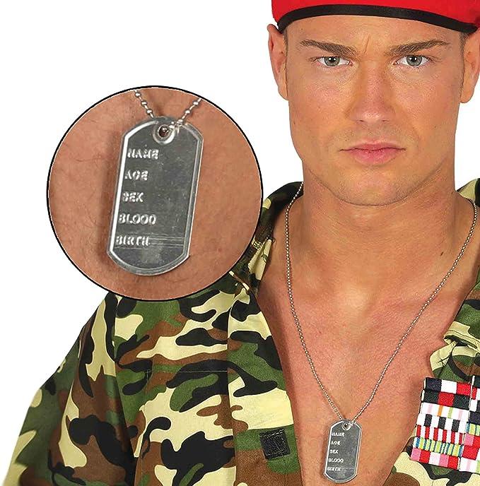 Collana Piastrine Militari DogTags Militaria Color Argento Piastrina Militare