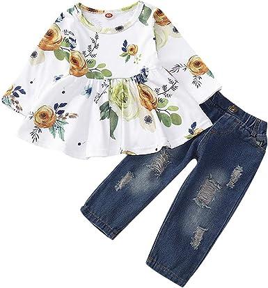 Borlai Juego de 2 piezas de ropa floral para niños y niñas ...