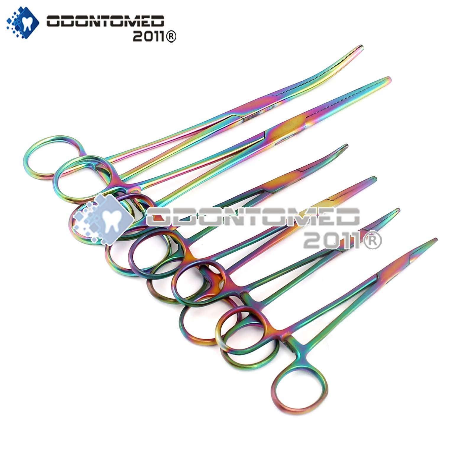 OdontoMed2011 Ultimate Hemostat Set Multi Color, 6 Piece Ideal for Hobby Tools, Electronics, Fishing and Taxidermy Rainbow Color