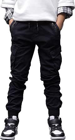 CAMLAKEE Pantalones Cargo Joggers con Cintura Elastica para Niños