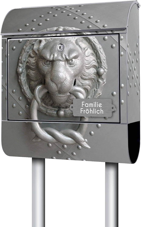 Gr/ö/ße 38x47x14cm 2 Schl/üssel inkl A4 Einwurf Stahl pulverbeschichtet mit Zeitungsrolle Montagematerial mit Beschriftung Banjado Design Briefkasten mit Motiv Eisentor