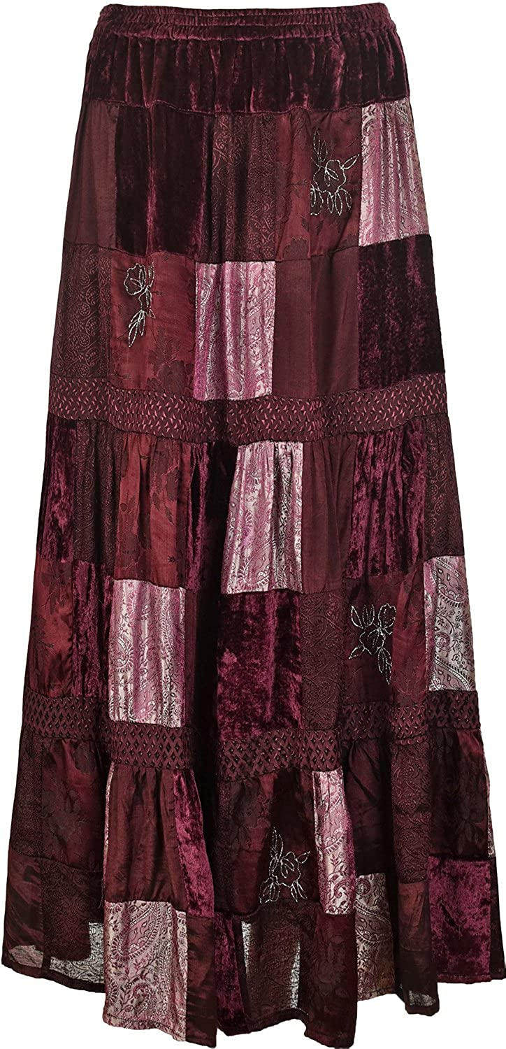Ladies Womens Long Maxi Skirt With Inside Lining Highlighting Squares Design 36 Inch Length