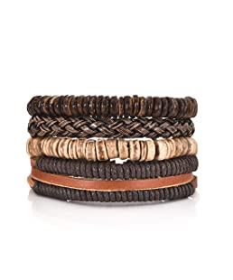 DALARAN 4Pcs Braided Leather Bracelet Men Cuff Wrap Wristbands Adjustable Wooden Beaded Bracelets