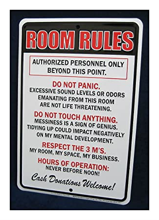 Embossed Metal Tin Sign U0026quot;ROOM RULESu0026quot; Teen Bedroom Man Cave Garage  Bar Decor