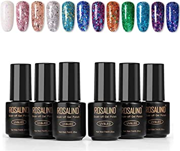ROSALIND 12PCS Esmaltes Semipermanentes de Uñas en Gel UV LED, Kit de Esmalte de Uñas Diamante Super Glitter 7ml: Amazon.es: Belleza