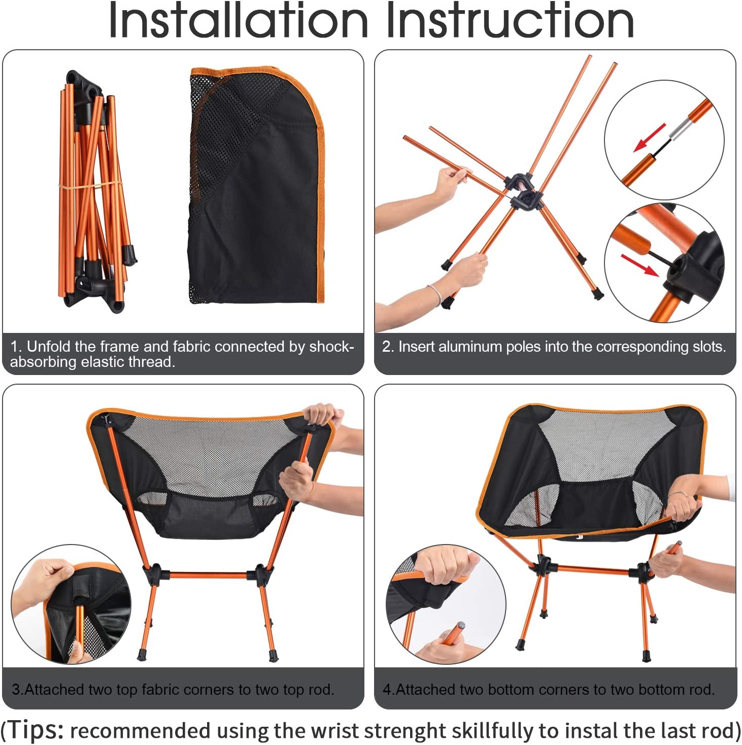 Orange 2 Pack Outdoor Portable Backpacking Camping Beach Chair with Carry Bag WoneNice Lightweight Folding Camping Chair
