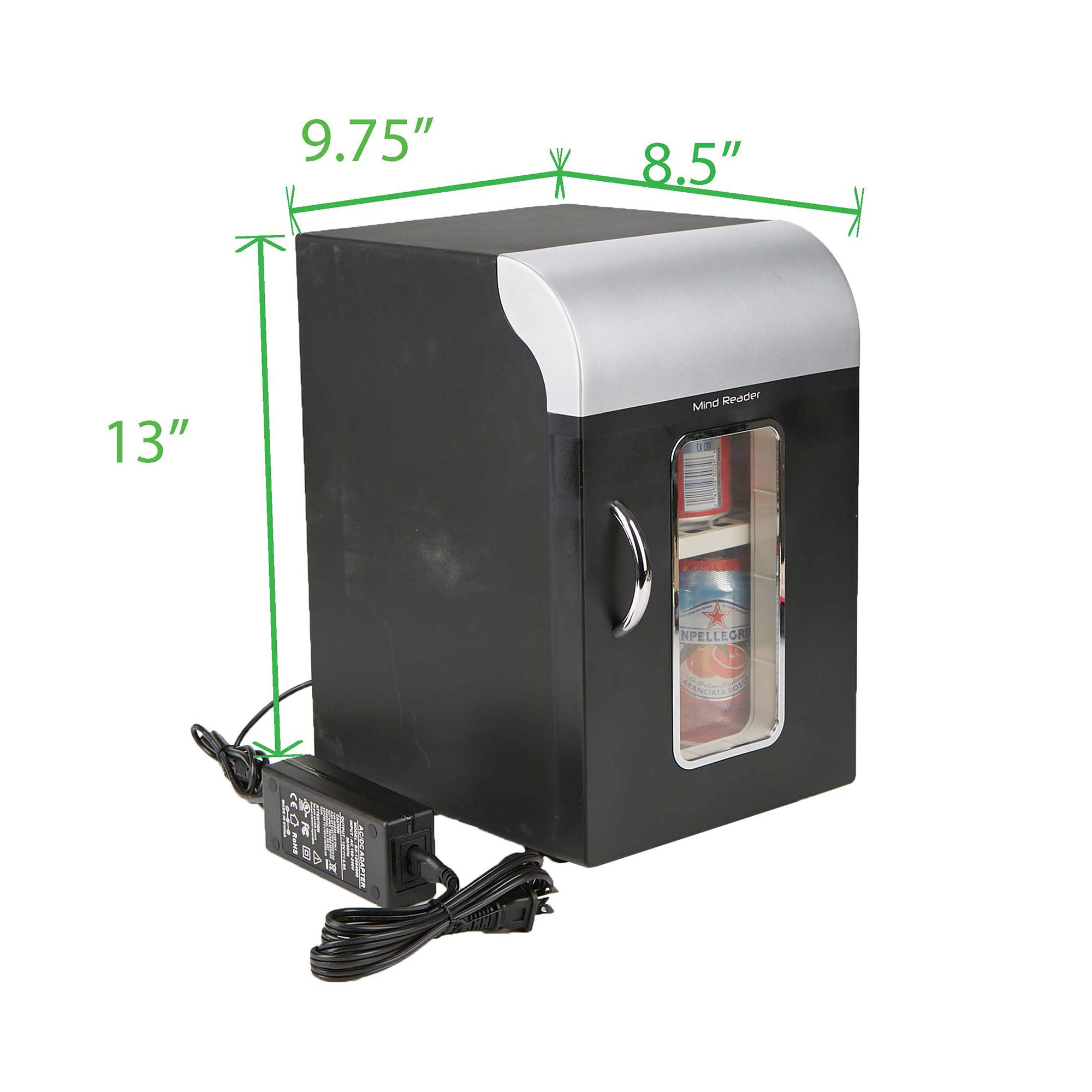 Mind Reader Compact Portable Personal Mini Fridge, For Home, Office, Six Can Capacity, Holds 2 Quarts of Milk, Black by Mind Reader (Image #5)