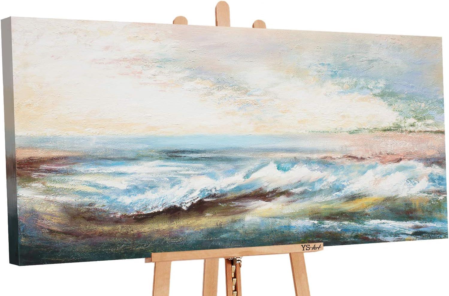 YS-Art | Cuadro Pintado a Mano Paisaje Marina | Cuadro Moderno acrilico | 130x70 cm | Lienzo Pintado a Mano | Cuadros Dormitories | único | De Color Beige
